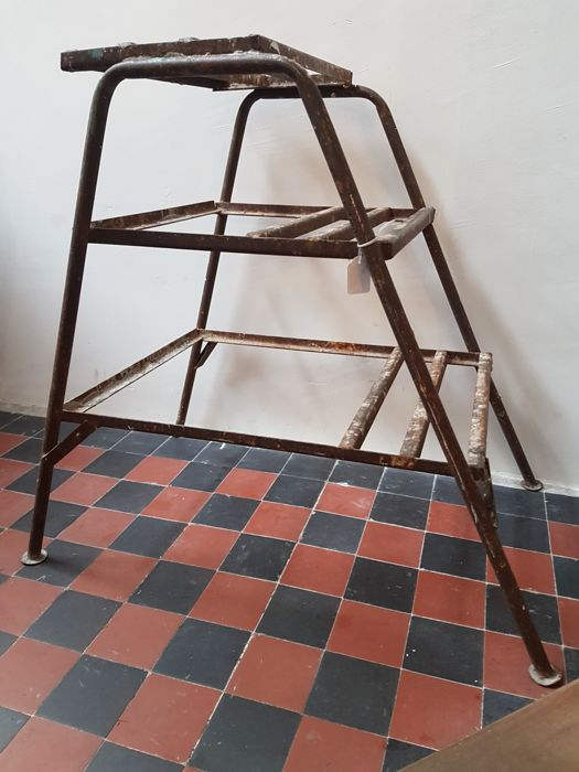 Industrial, vintage metal factory stepladder