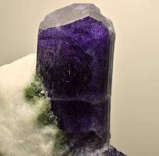 Fluorescent Well Terminated Violet Purple Scapolite Crystal on Matrix - 72 x 60 x 87 mm - 385 Grams