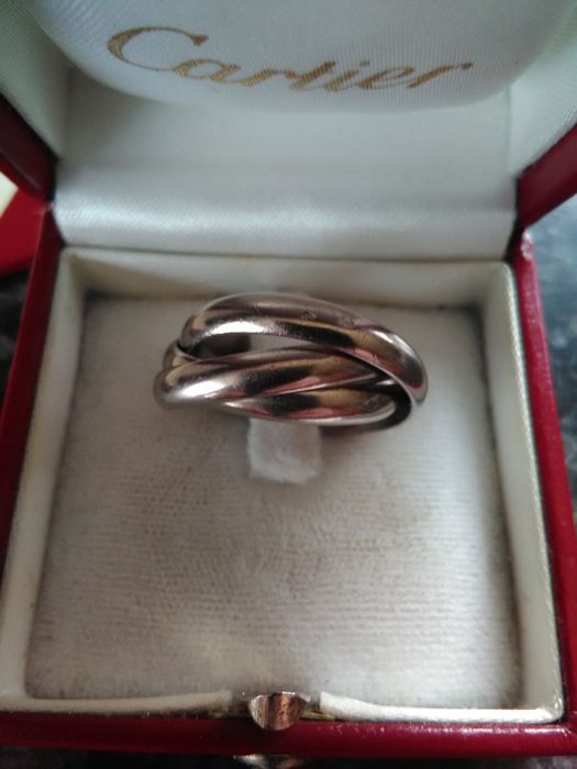 Cartier - trinity ring, 18 kt white gold, size 57, with certificate and box, 10.55 g