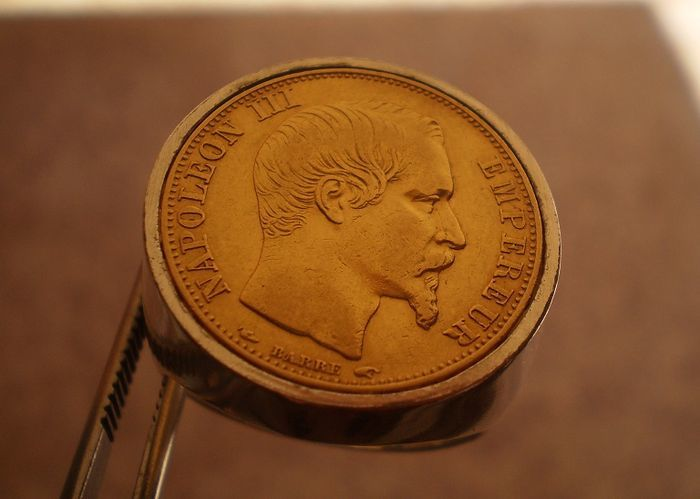 Gold Men's ring with gold coin of 20 francs Napoleon