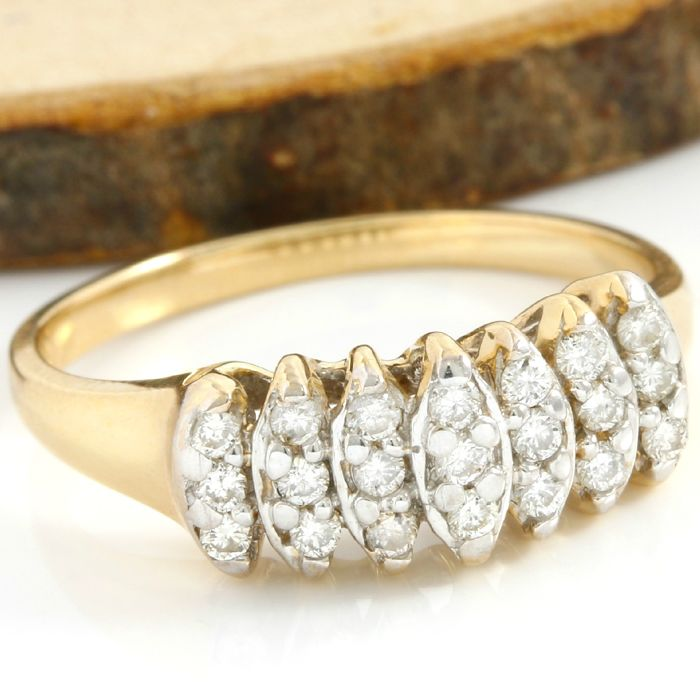No Reserve Price - 14 kt Yellow Gold 0.25 ct Diamond Ring; Size: 6.25