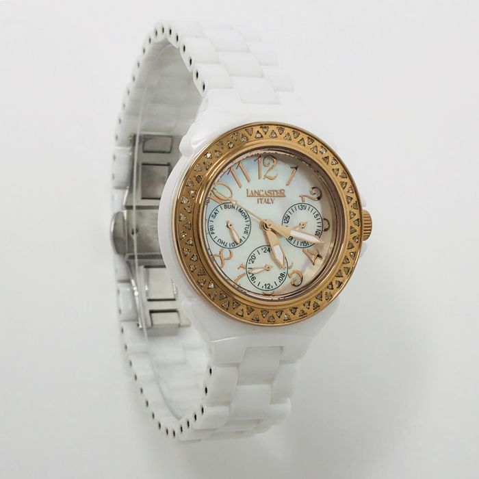 Lancaster - Ceramic Diamonds 0.59 ct 36 mm White MOP Rose Gold - OLA0649RG/BN - Femme - NEW