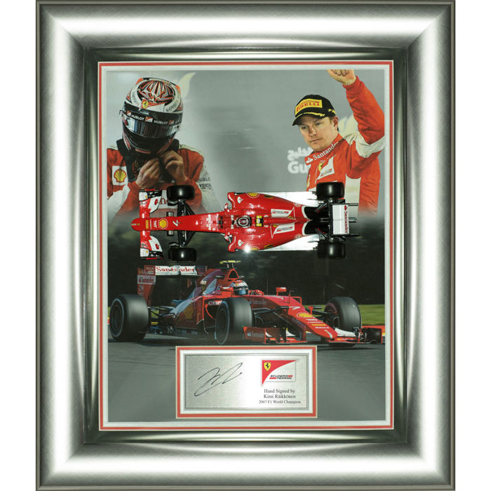 Signed Kimi Räikkönen Ferrari F1 Framed Display with 1:18 Scale Car - Formula One World Champion