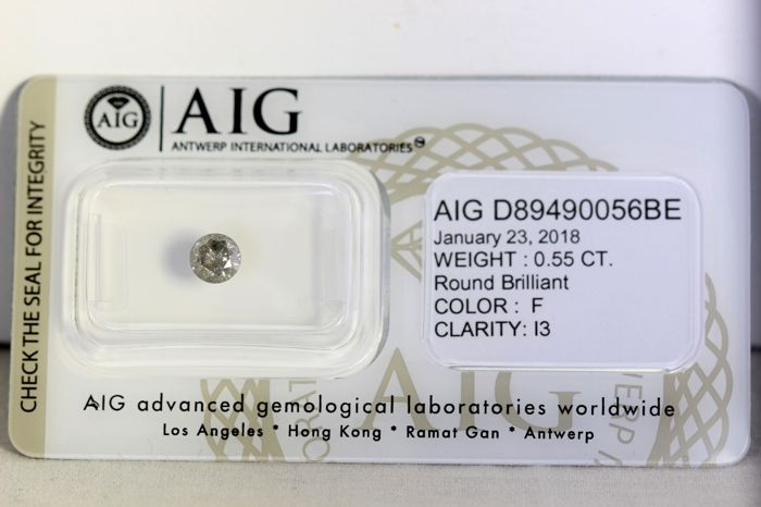AIG Diamond - 0.55 ct - F, I3 - * NO RESERVE PRICE *