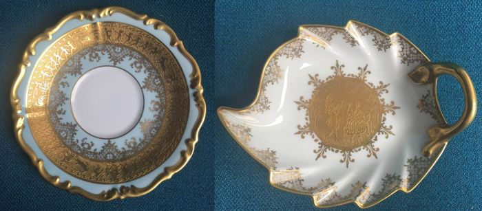 2 Karlsbader Wertarbeit porcelain saucers inlaid with gold