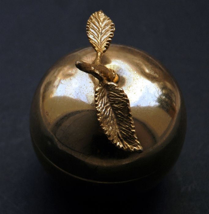 Antique Gold Plated Bowl with a Lid in the Shape of Apple, European, Middle of 20th Century