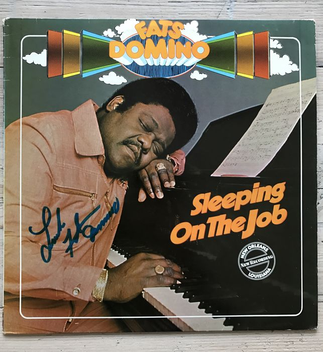 "Fats Domino : LP album ""Sleeping on the Job"" signed by Fats Domino"