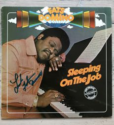 """Fats Domino : LP album """"Sleeping on the Job"""" signed by Fats Domino"""