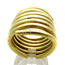 Ancient Bronze Age (European) Gold Coiled Ring - Extremely Rare Item - 19 mm