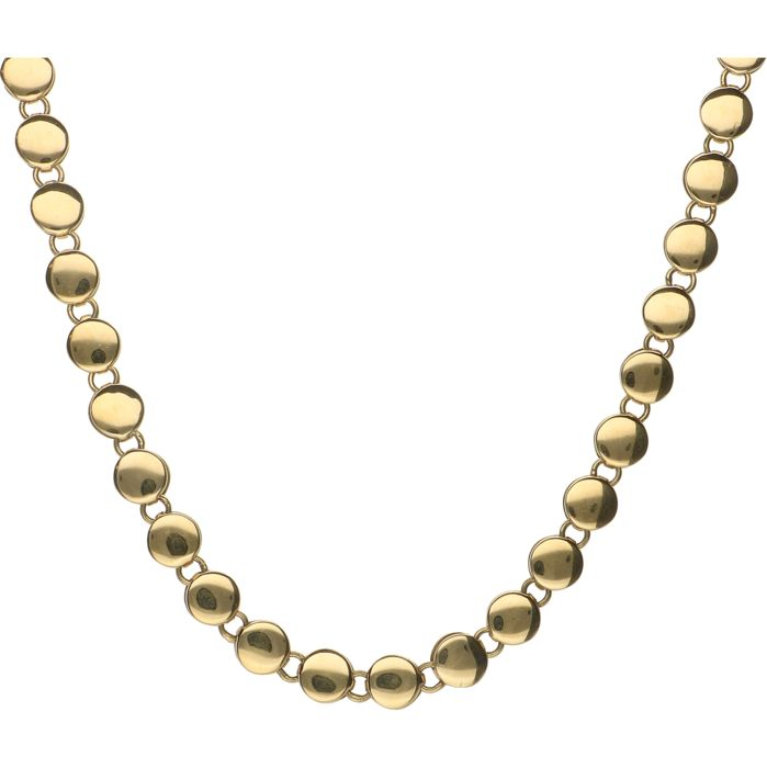 18 kt  Yellow gold link necklace with round links with a diameter of 6 mm - Length: 41.6 mm