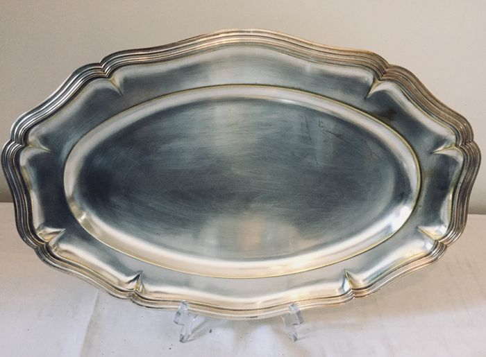 Silver-plated metal antique serving platter with gold-plated edges