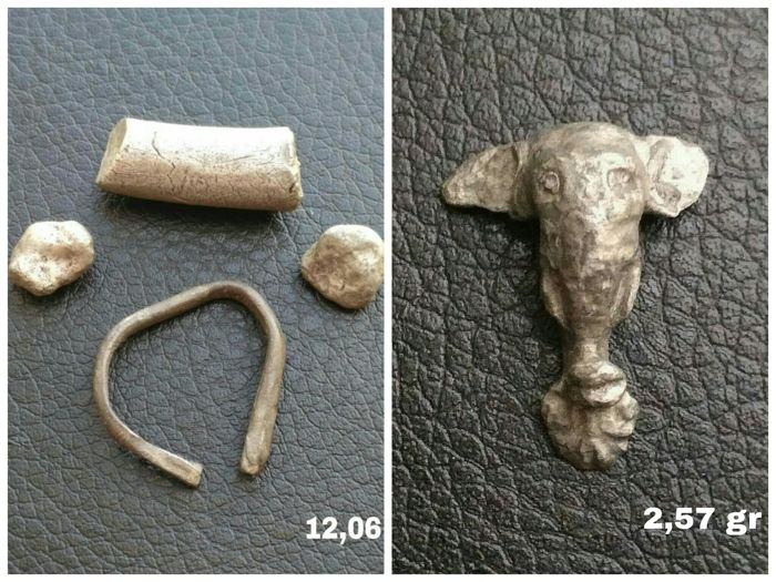 Antiquity - 4 pieces of silver proto-money & punic silver elephant head - VI - II Cent. BC. (5)