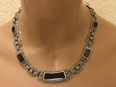 925 Silver necklace with carnelian and markasites in Art Deco style - necklace 46 cm