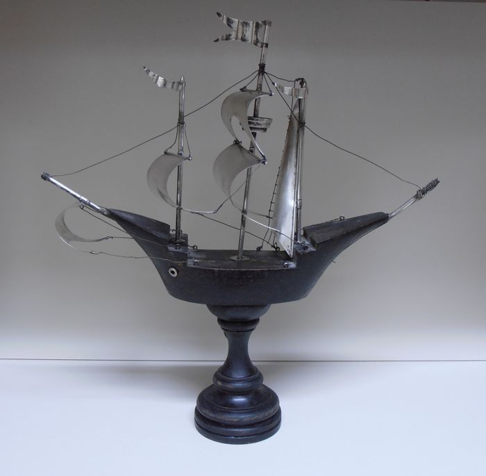 Sailing Ship, Silver and Wood, Italy late 19th c