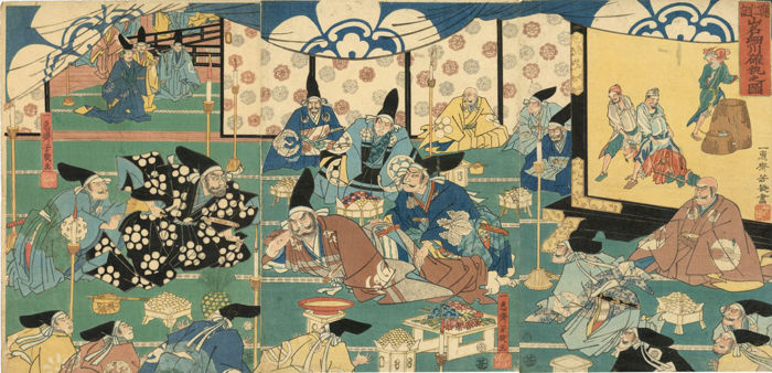 "Houtsnede drieluik door Utagawa Yoshiiku (1833-1904) - ""Chronicle of the Onin Rebellion: The Rivalry Between the Yamana and the Hosokawa"" - Japan - 1860"
