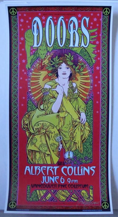 The Doors / Albert Collins  Concert Poster Vancouver 1970