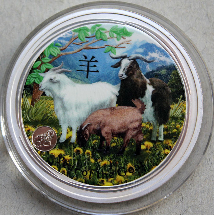 Australia - 1 Dollar 2015 Year of the Goat - coloured - 1 Oz - Silver