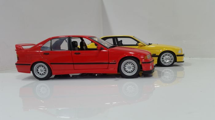 otto mobile ut model scale 1 18 bmw e36 m3 coupe yellow bmw 318i red catawiki. Black Bedroom Furniture Sets. Home Design Ideas