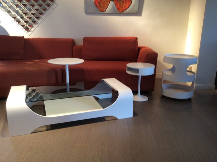 Mobile Coffee Table.Various Manufacturers Space Age Coffee Table With Matching Luna Opel Mobile Trolley And Side Tables Catawiki