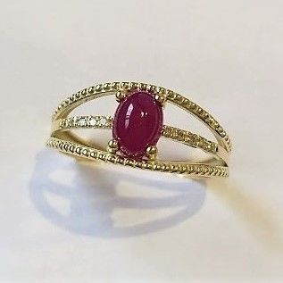 ***No Reserve*** Ring with 1.25 ct Ruby measuring 7 x 5 mm and 10 Diamonds, 14 kt Gold, made in Spain, New and Unused - 18.5 mm in diameter
