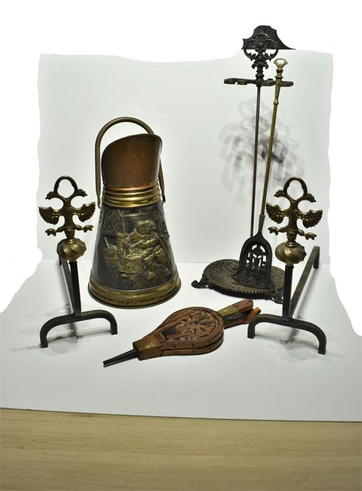 Fireplace Accessories | Wrought Iron & Brass Andirons | Copper & Brass Coal Bucket | Iron Accessory Stand w. Hand-chased Brass Shovel | Oak Fireplace Bellows | Late 19th-Mid 20th Century