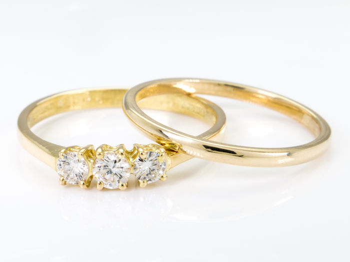 14k & 18k gold  - Elegant diamond triology ring set - ***No Reserve***