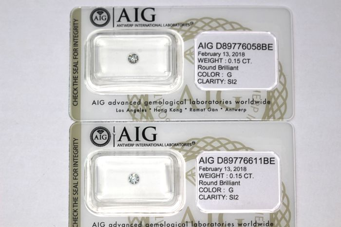 Unique lot of 2 Diamonds - Totat Carat 0.30 ct - G, SI2 - * NO RESERVE PRICE *