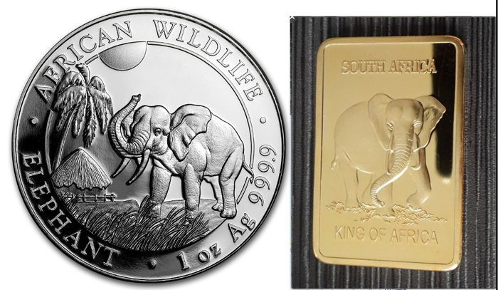 World - Lot of 1 oz 'African Wildlife - Elephant' and 1 oz silver bar gold plated - silver