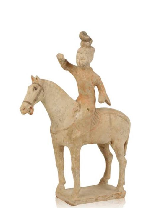 Polo player on horse with TLC report from oxford - China - 618 - 907 (Tang Dynasty)