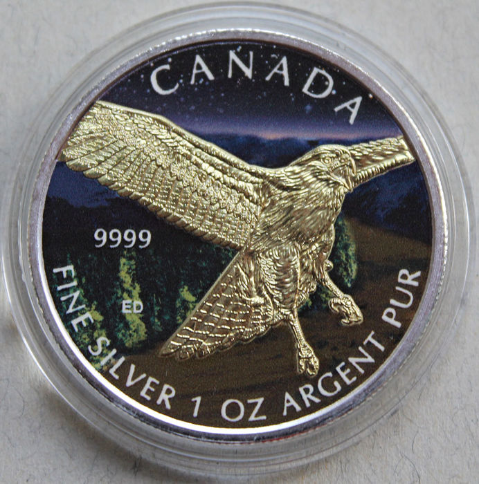 Canada - 5 Dollars 2015 'Birds of Prex - Red Tailed Hawk' Colour/Gold Plated - 1 oz silver