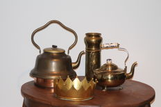Two brass kettles -- copper crown and a copper shell