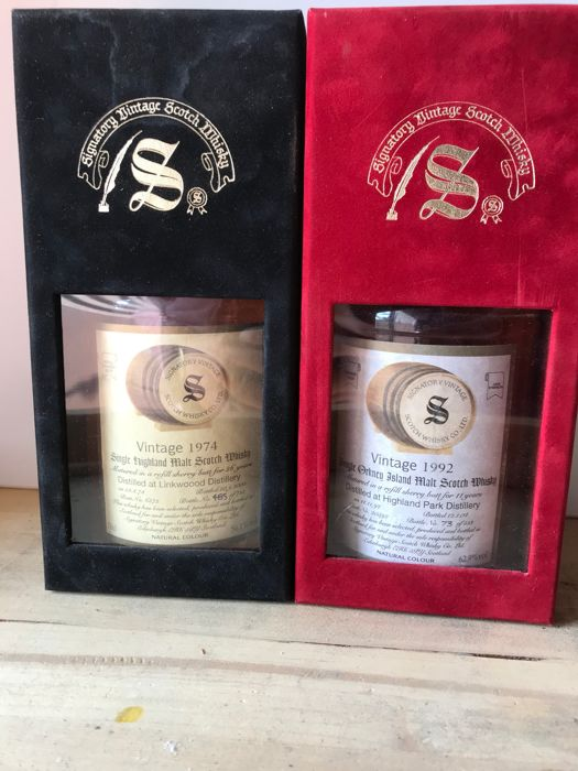 2 bottles - Linkwood 1974  26 years old Refill Sherry Signatory 70cl - 56.1% & Highland Park 1992  11 years old Refill Sherry Signatory 70cl - 62.9%