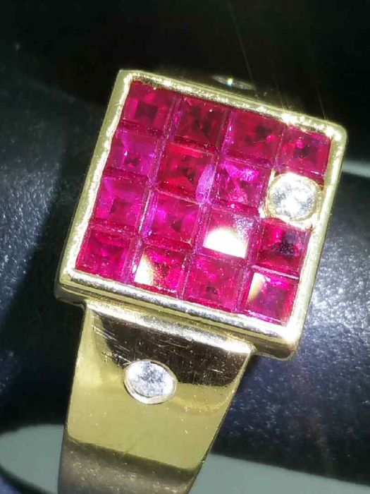 Signet Ring with Rubies and Diamonds