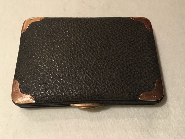 Card and document holder with rose gold edge and ostrich leather - c. 1900 - Italy