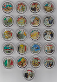 Europe - Various coloured 2 euro coins (21 different coins)