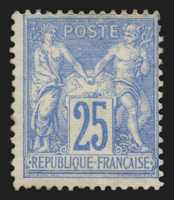 France 1876 - Sage 25c overseas, Type II (N under U), Yvert 78