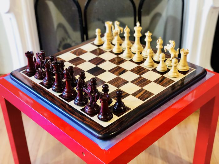 Ferrari red rosewood chess set with board and box
