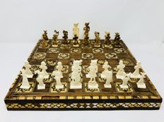Antique Egyptian chess set made of bone and nacre