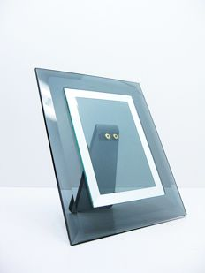 Unknown designer - Photo frame in cut crystal glass and brass
