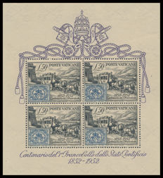 Vatican City, 1952 - Mini-sheet of Centenary of the first stamps of the Papal State - Sassone No. 1