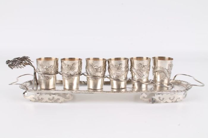 Silver Dragon tray with 6 Cups Chinese silver plate cups with hallmark, China around 1900