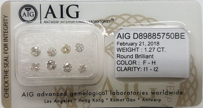 "Cts. 1.27, Colour: F-H/I1-I2, Total 8 Stones, Round Brilliants, AIG Certified, Sealed, ""NO RESERVE PRICE"""
