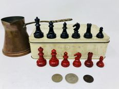 William Britain British chess of 1946 With coins and vintage bronze utensils