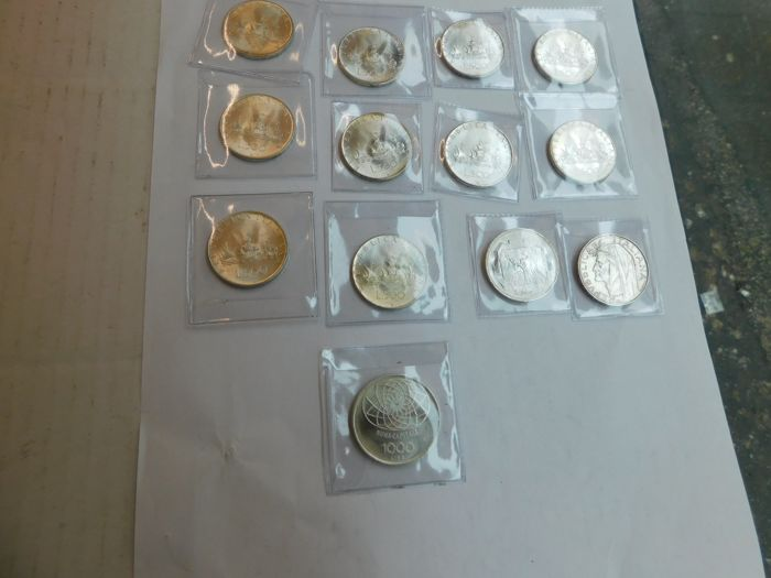 Italy and San Marino - 500 and 1,000 Lire 1966/1976 (13 pieces) - silver