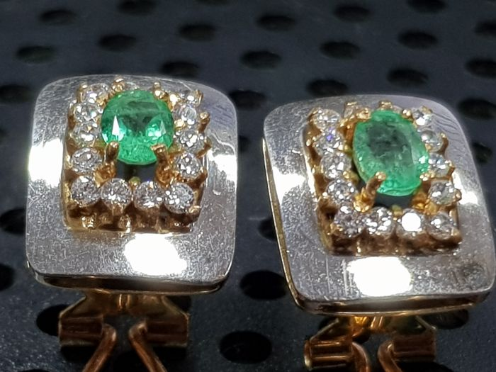 Earrings in white/yellow gold with emeralds (0.30 ct each)