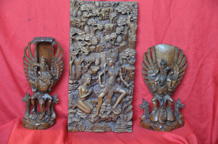 3  Balinese Hindu wood carvings - indonesia - 2nd half 20th century (50cm)