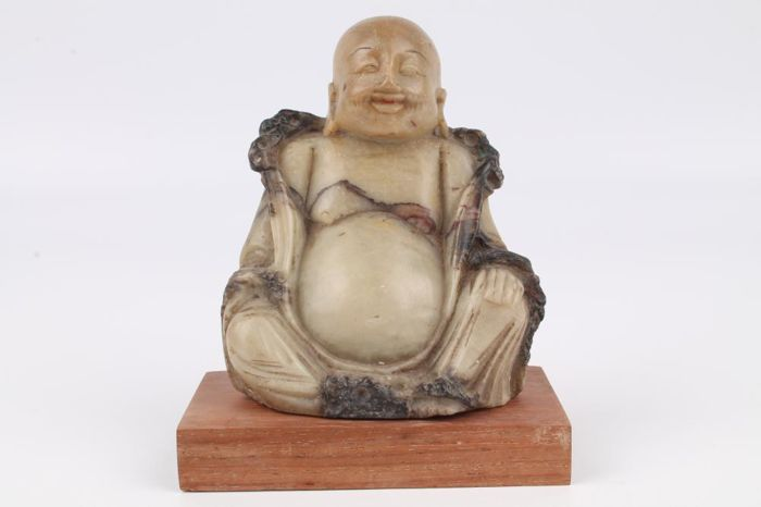 Soapstone Buddha figure on a wooden stand Chinese soapstone figurine – China – 1st half of the 20th century.