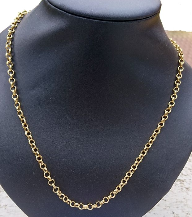 18 kt gold chain necklace, Rolo links of 52 cm