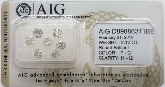 Cts. 2.12, Colour: F-G/I1-I2, Total Stones: 7, Round Brilliants, AIG Certified, Sealed