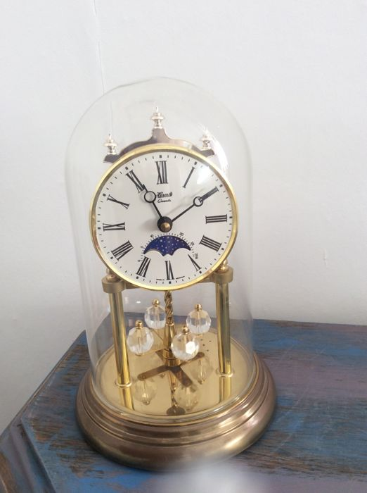 Bell jar clock Hermeler made in Germany